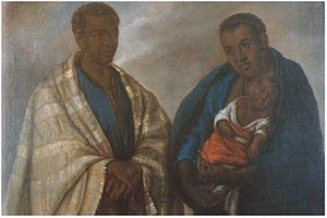 African diaspora - 18th-century Peruvian painting showing a family of free Africans.