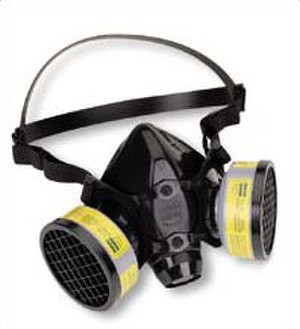 Respirator - A half face particulate (air-purifying) mask is generally worn to protect the wearer from dust and paint fumes.