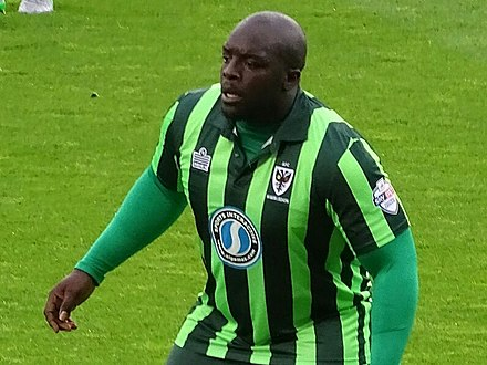Akinfenwa playing for AFC Wimbledon in 2015 Akinfenwa 2015.jpg