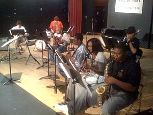 "Alabama Jazz Hall of Fame - Members of the AJHoF free Saturday jazz class, instructed by Ray Reach, working on the bossa nova song, ""Chega de Saudade,"" by Antonio Carlos Jobim, May 23, 2009"