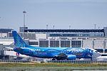 Alaska Airlines Make-a-wish Disneyland Boeing 737, N-706AS, departing SFO, runway 1L or 1R (26804193090).jpg