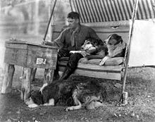 A man sits on a swing, writing on a crude desk. Two dogs, Rough Collies, sit on his left.  Another lies on the ground at his feet.