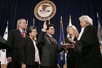 History of the Patriot Act - In February 2005, President George W. Bush urged the reauthorization of the USA PATRIOT Act during a speech given during the swearing in of Attorney General Alberto Gonzales.