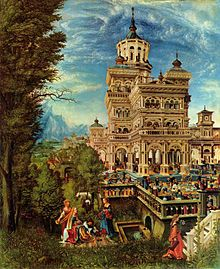 A painting showing an elaborate and fanciful palace set in a landscape of forest and mountains. The forecourt of the palace is bustling with people. Outside the palace, near a fountain sits Susannah attended by handmaids who wash her feet and comb her hair. Two old courtiers spy on her from the dense undergrowth.