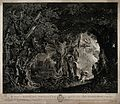 Alcasto in an enchanted forest, facing a castle defended by Wellcome V0025914.jpg