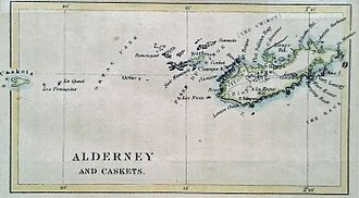 Alderney - 1890 map of Alderney and adjacent islands