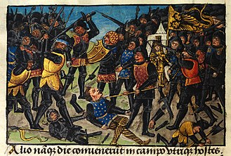 Wars of Alexander the Great - Alexander's first victory over Darius, the Persian king depicted in medieval European style in the 15th century romance The History of Alexander's Battles
