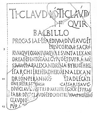 "Library of Alexandria - This Latin inscription regarding Tiberius Claudius Balbilus of Rome (d. c. AD 79) mentions the ""ALEXANDRINA BYBLIOTHECE"" (line eight)."