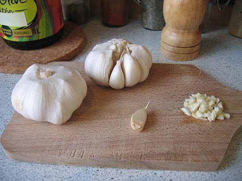 Garlic in bulb and chopped