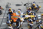 Pitstop underway for Fernando Alonso at 2008 Chinese Grand Prix