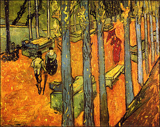 <i>Falling Autumn Leaves</i> pair of paintings by Vincent van Gogh