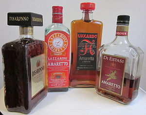 Amaretto - Bottles of amaretto liqueur.