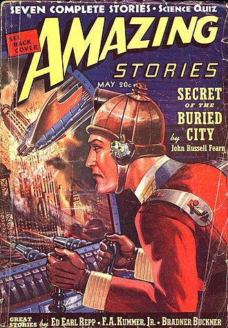 John Russell Fearn - Fearn's novel Secret of the Buried City was the cover story of the May 1939 issue of Amazing Stories, illustrated by Robert Fuqua