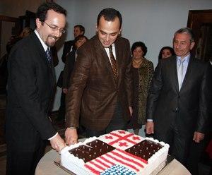 Levan Varshalomidze - Levan Varshalomidze with the United States ambassador John Bass in 2009