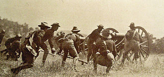 Moro Rebellion - American soldiers battling with Moro fighters.