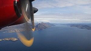 Amerloq Fjord - Aerial view of Amerloq Fjord, Nasaasaaq, and Sarfannguit Island