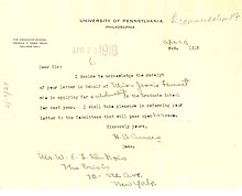 A 1918 note from Ames to W.E.B. DuBois concerning a student recommendation