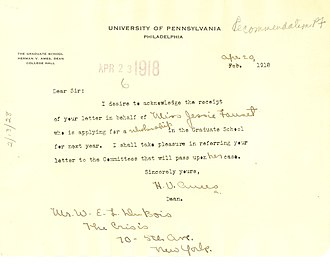 Herman Vandenburg Ames - A 1918 note from Ames to W.E.B. DuBois concerning a student recommendation
