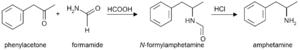 Formetorex - Image: Amphetamine Leuckart reaction