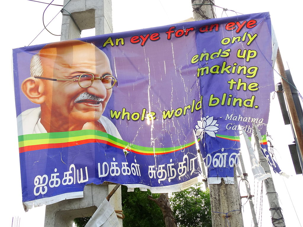 A poster featuring Mahatma Gandhi in Jaffna. Photo credit: Adam Jones/Wikimedia Commons [CC Attribution-Share Alike 2.0 Generic license].