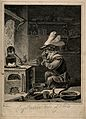 An monkey-alchemist pumps a bellows in a laboratory; alludin Wellcome V0011929.jpg