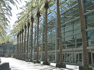 Side exterior view of the Anaheim Convention C...