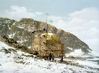 Andrée's Arctic balloon expedition - The station at Spitsbergen, from a photochrom print at the end of the nineteenth century