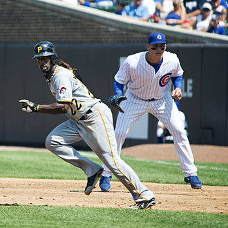 Anthony Rizzo - Rizzo (right) playing first base for the Chicago Cubs in 2012