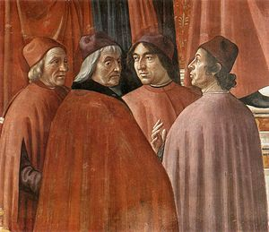Marsilio Ficino - Zachariah in the Temple (detail), a fresco by Domenico Ghirlandaio (1486–1490) in the Tornabuoni Chapel, Florence, showing (L-R): Marsilio Ficino, Cristoforo Landino, Angelo Poliziano and Gentile de' Becchi or Demetrios Chalkondyles