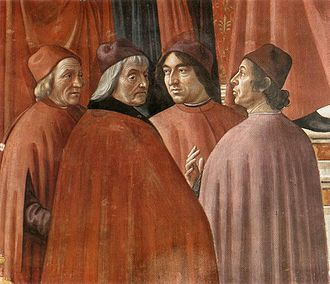 Lorenzo de' Medici - The Angel appearing to Zacharias, Tornabuoni Chapel, contains portraits of members of the Medici Academy, Marsilio Ficino, Cristoforo Landino, Agnolo Poliziano and either Demetrios Chalkokondyles or Gentile de' Becchi.
