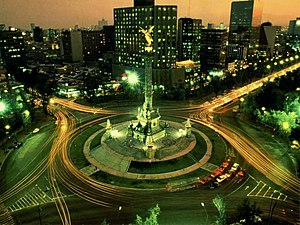 Angel of Independence - The Independence Angel on the Paseo de la Reforma, at sunset.