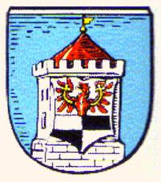 Węgorzewo - Coat of arms of Angerburg from a 1932 postcard.