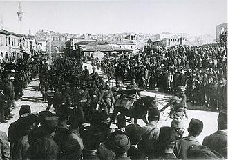 Battle of Dumlupınar - Turkish troops marching in the Ulus Square, Ankara on 15 August 1922.