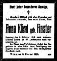 Anna Klimt death notice, Vienna, 1915.jpg