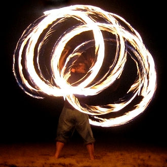 Fire performance - A fire twirler with staff