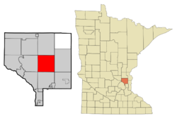 Location of the city of Ham Lakewithin Anoka County, Minnesota