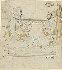 Two Rajput Noblemen with a Child