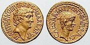 Antony with Octavian aureus