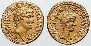 Parthian Empire - Roman aurei bearing the portraits of Mark Antony (left) and Octavian (right), issued in 41 BC to celebrate the establishment of the Second Triumvirate by Octavian, Antony and Marcus Lepidus in 43 BC