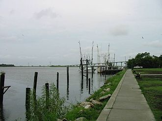 John Gorrie Memorial Bridge - Apalachicola Bay, with the John Gorrie Bridge in the background.
