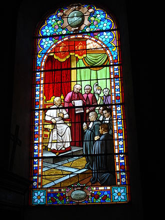Apinac - Stained glass window of Apinac church