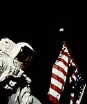 Apollo 17 Astronaut Cernan Adjusts U.S. Flag on Lunar Surface (5052744448).jpg