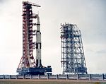 Apollo 6 and Mobile Service Structure during rollout.jpg