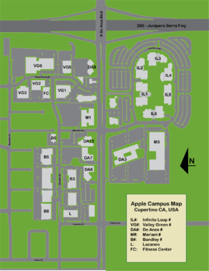 Infinite Loop (street) - Map of the Apple Campus.