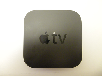 English: The new, second-generation Apple TV. ...