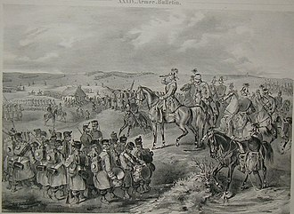 Battle of Isaszeg (1849) - Alfred I, Prince of Windisch-Grätz observing the military situation during the Battle of Isaszeg, 6 April 1849