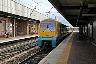 Warrington Bank Quay railway station - An Arriva Trains Wales Class 175, at platform 3, with the service to Manchester Piccadilly