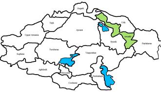Artsakh (historic province) - Location of Artsakh (green) in Armenia