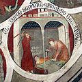 Asciano, museo di palazzo corboli, int., sala di aristotele con affreschi attr. a Cristoforo di Bindoccio e Meo di Pero, XIV sec. 11.JPG