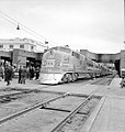 Atchison, Topeka, and Santa Fe, Diesel Electric Passenger Locomotive No. 12, at Platform with Crowd (15654504132).jpg